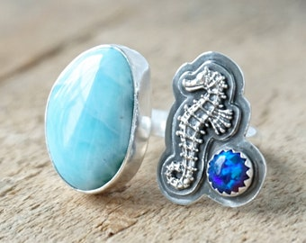 Larimar, Aura Opal, and Seahorse Open Statement Ring, Size 8 1/2
