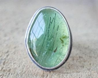 Prehnite Statement Ring, Size 9 1/4