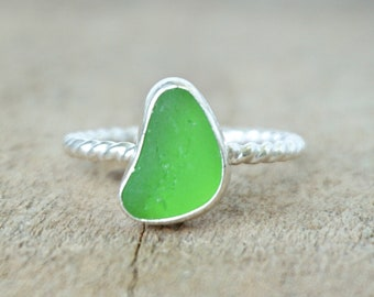 Lime Green Sea Glass Stacking Ring, Size 8 1/2