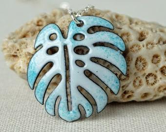 Seafoam Green Enamel Monstera Leaf Necklace