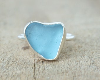 Cornflower Blue Sea Glass Stacking Ring, Size 7 1/2