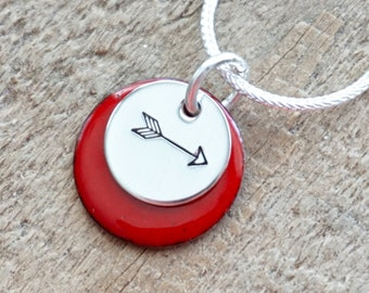 Hand Stamped Sterling Silver Arrow on Enamel Pendant - Choose Your Color