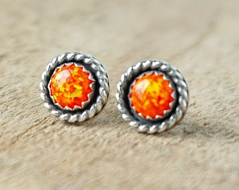Tangerine Orange Aura Opal Stud Earrings