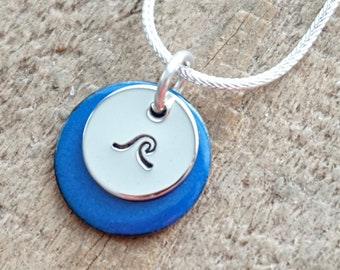 Hand Stamped Sterling Silver Wave on Enamel Pendant - Choose Your Color