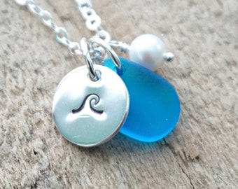 Sterling Silver Wave with Dark Aqua Blue Sea Glass and Pearl Pendant
