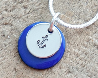 Hand Stamped Sterling Silver Anchor on Enamel Pendant - Choose Your Color
