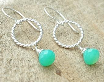 Chrysoprase on Twist Rings Earrings