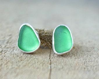 Kelly Green Sea Glass Stud Earrings