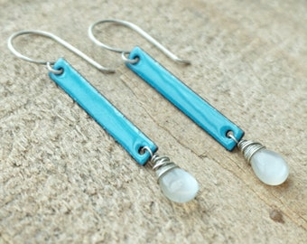 CLEARANCE Teal Blue Enamel and Grey Moonstone Earrings