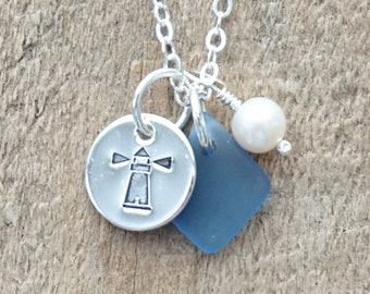 Sterling Silver Lighthouse with Cornflower Blue Sea Glass and Pearl Pendant