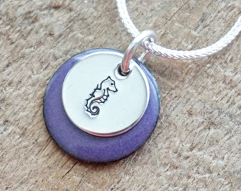 Hand Stamped Sterling Silver Seahorse on Enamel Pendant - Choose Your Color