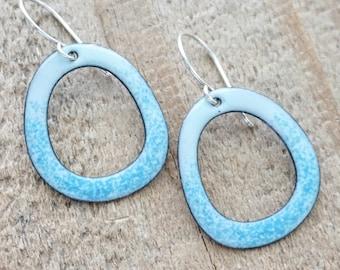 Light Blue on Seafoam Green Enamel Cutout Earrings