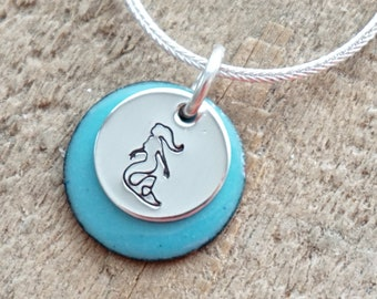 Hand Stamped Sterling Silver Mermaid on Enamel Pendant - Choose Your Color