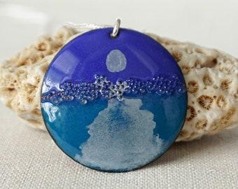 Moonrise - Peacock Teal and Cobalt Blue Enamel Pendant