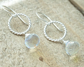Clear Rainbow Quartz and Twist Ring Earrings