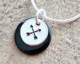 Hand Stamped Sterling Silver Crossed Arrows on Enamel Pendant - Choose Your Color