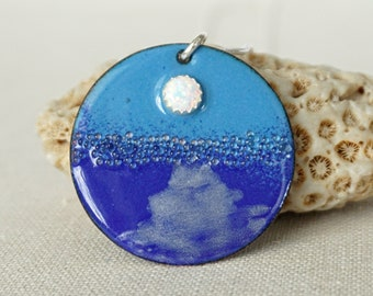 Moonrise - White Aura Opal on Blue Enamel Pendant