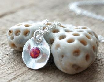 Hot Pink Aura Opal on Fine Silver Pendant