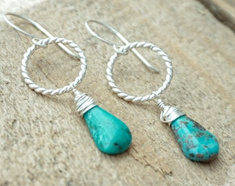 Kingman Turquoise and Twist Ring Earrings
