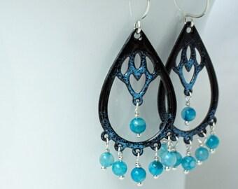 CLEARANCE Blue on Black Enamel with Agate Chandelier Earrings
