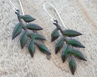 Metallic Green Enamel Leaf Earrings