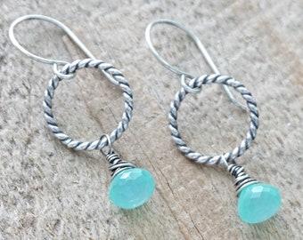 Aqua Chalcedony on Twist Rings Earrings