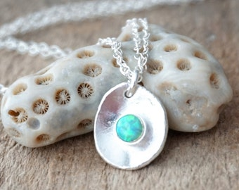Green Aura Opal on Fine Silver Pendantr Jewelry