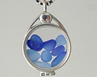 Cornflower Blue anc Cobalt Blue Sea Glass Floating Locket Pendant