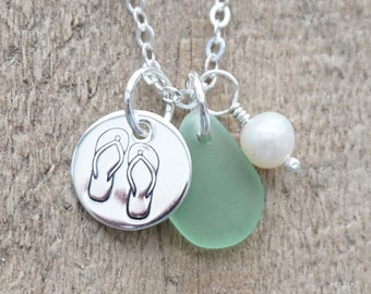 Sterling Silver Flip Flop with Seafoam Green Sea Glass and Pearl Pendant