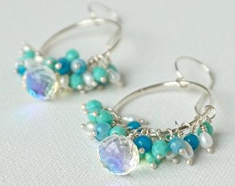 Aura Quartz, Agate, Pearl, Czech Glass Hoop Earrings