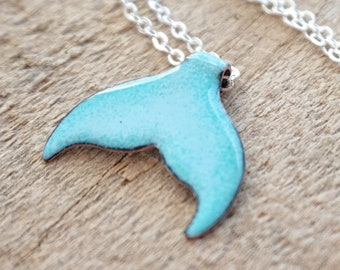 Light Blue Enamel Mermail Tail Necklace