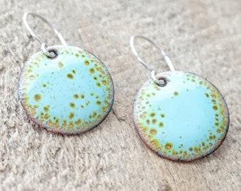 Robin's Egg Blue and Lime Green Enamel Disc Earrings