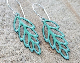 Spring Green Enamel Leaf Earrings