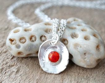 Red Aura Opal on Fine Silver Pendant