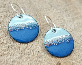 Light Blue and Cobalt Blue Enamel Disc Earrings