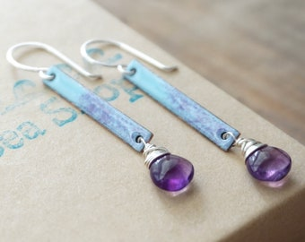 Light Blue and Purple Enamel and Amethyst Earrings
