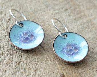 Light Blue and Purple Enamel Disc Earrings