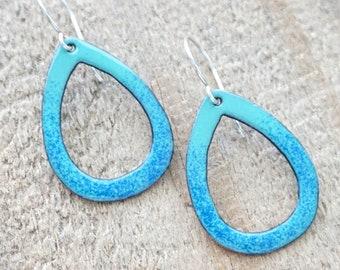 Cobalt Blue on Light Teal Green Enamel Teardrop Earrings