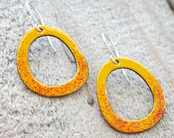 Red on Bright Orange Enamel Cutout Earrings