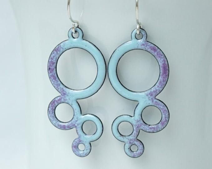 Featured listing image: Purple on Light Blue Circles Enamel Earrings