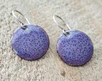 Purple Enamel Disc Earrings