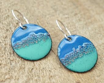 Mint Green and Cobalt Blue Enamel Disc Earrings