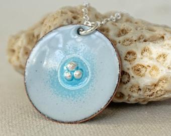Light Blue Enamel Pendant with Fine Silver