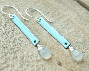 Robin's Egg Blue Enamel and Grey Moonstone Earrings