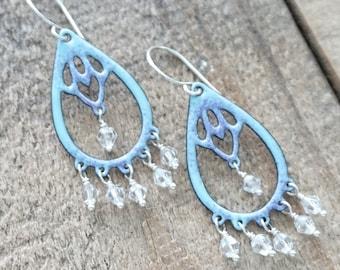 CLEARANCE Purple on Light Blue Enamel with Swarovski Crystal Chandelier Earrings