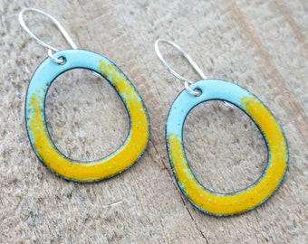 Orange on Robin's Egg Blue Enamel Earrings