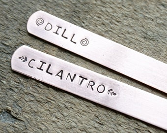 CLEARANCE Hand Stamped Dill or Cilantro Copper Plant Marker