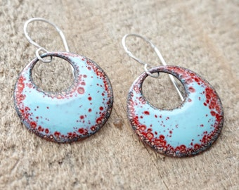 Red and Robin's Egg Blue Enamel Cutout Disc Earrings