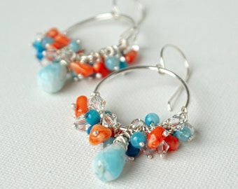 Larimar, Agate, Coral, Swarovski Crystal Hoop Earrings