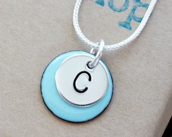 Hand Stamped Sterling Silver Initial on Enamel Pendant - Choose Your Color